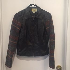 Faux Leather Jacket w/ Aztec Print Sleeves - Small